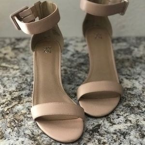 New! New York & Co Nude Wedge Sandal
